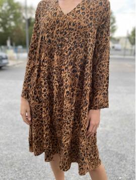 Robe longue viscose imprimée évasée col V motif animal