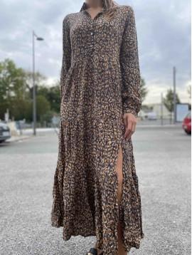 Robe longue viscose imprimée à col motif taches destructurées