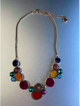 Collier - Pastilles façon émailles et pierres sur chaines