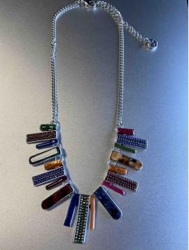 Collier - Goutes rectangles métal avec pierres sur chaine