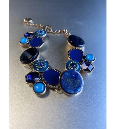 Bracelet - Pastilles façon émail et pierres sur chaine