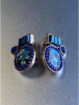 BO clips - Pastilles entrelacées façon émail avec pierres