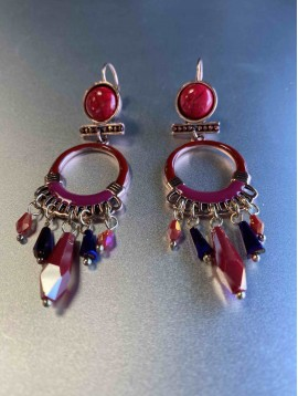BO dormeuses - Cercle en perle avec pierres pendantes