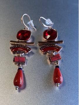 BO percées - Pierres rondes avec arc façon émail et perle pendante