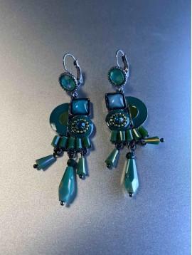 BO dormeuses - Pastilles entrecroisées pierres et perles pendantes