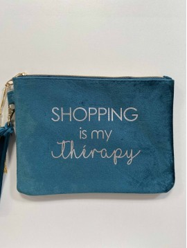"Maro PM/pochette velours""Shopping is my therapy"""