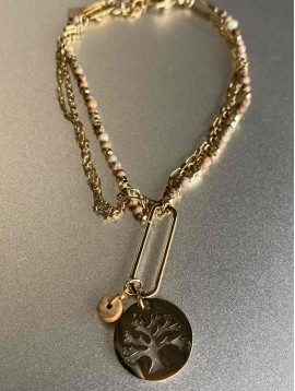 Bracelet Acier - Arbre de vie sur chaîne fine et perles naturelles