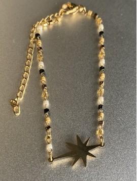 Bracelet Acier - Pendentif Etoile filante sur mini perles