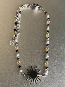 Bracelet Acier - Pendentif Soleil sur mini perles