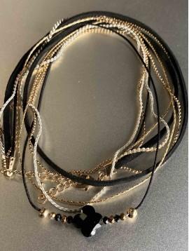 Bracelet - Multirangs Trèfle facettes  sur chaine et ruban
