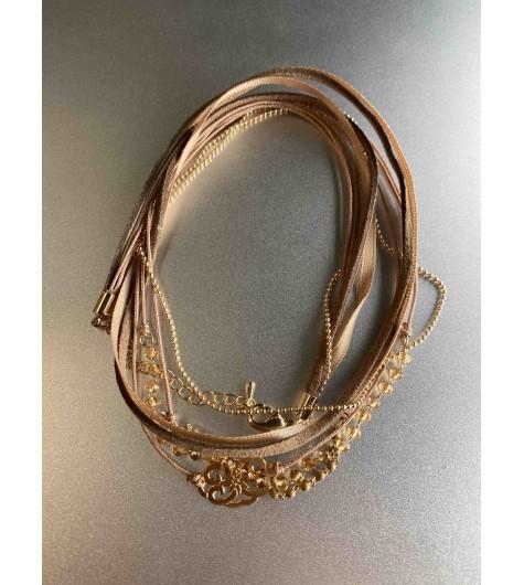 Bracelet - Multirangs Rosace métal facettes sur chaine et ruban