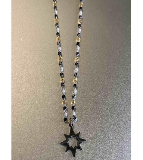Collier Acier - Pendentif Etoile sur mini perles