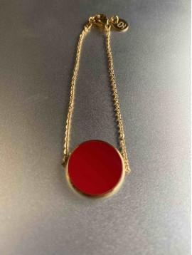 Bracelet Acier - Pendentif pierre ronde colorée sur chaine