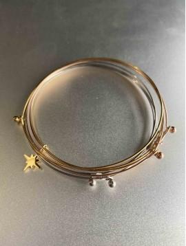 Bracelet Acier - Maillons plats allongés avec détails strass