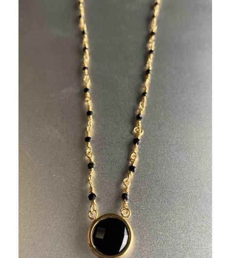 Collier Acier - Grosse pierre et mini perles sur chaine en acier