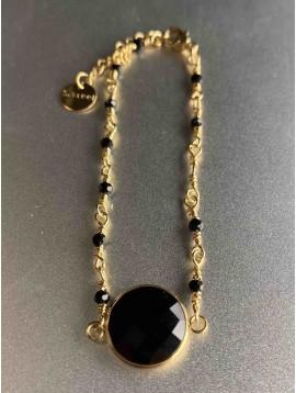 Bracelet Acier - Grosse pierre et mini perles sur chaine acier