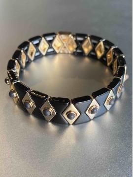 Bracelet éla - Larges lozange et perle sur élastique