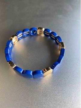 Bracelet éla - Fin perles octogonales résine sur élastique