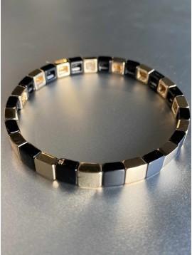 Bracelet éla - Fin perles carré résine et métal sur élastique
