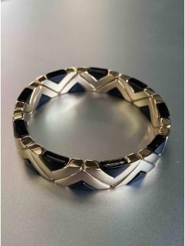 Bracelet éla - Larges triangles métal et résine sur élastique