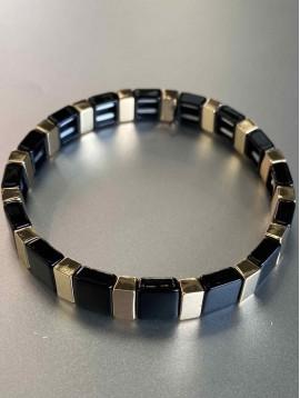 Bracelet éla - Fin perles carré résine sur élastique