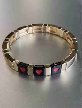 Bracelet éla - Fin perles carré résine avec COEURS sur élastique