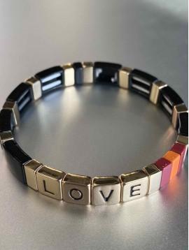 Bracelet éla - Fin perles rectangles résine avec LOVE sur élastique