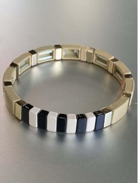 Bracelet éla - Fin perles rectangles résine et petits sur élastique