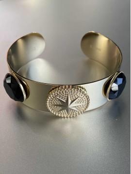 Bracelet Acier - Jonc large pièce martelée étoile et pierres naturelle