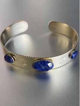 Bracelet Acier - Jonc large Ovales en pierres naturelles