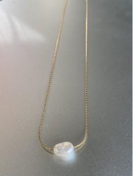 Collier Acier - Perle naturelle sur chaîne fine serpent