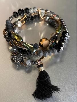 Bracelet - Multirangs pierres scintillantes avec pompon
