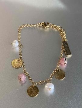 Bracelet Acier - Pastilles acier perles et pierres naturelles