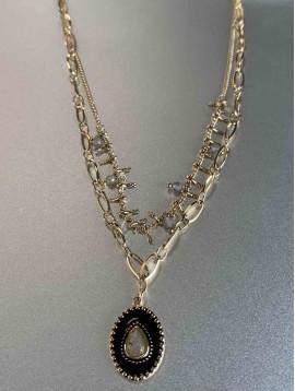 Collier Acier - Double rangs Pendentif façon émail perles naturelles