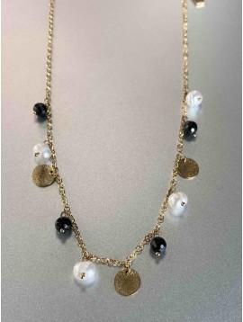 Collier Acier - Pastilles acier perles et pierres naturelles