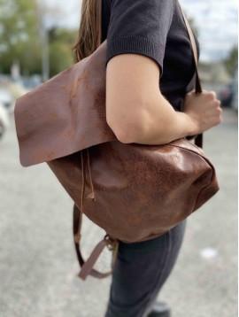 Sac cuir porté sac à dos cuir vieilli
