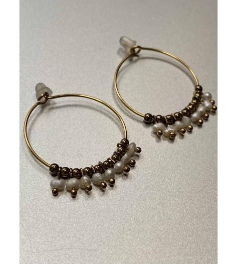 BO Créoles - Créoles avec pendantifs perles naturelles et dorées