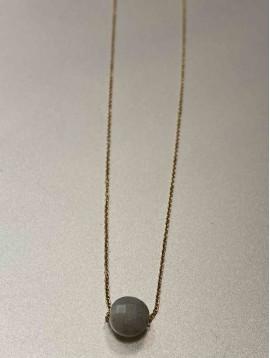 Collier Acier - Pendantif pierre naturelle sur chaine fine