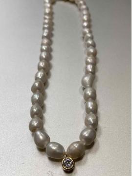 Collier Acier - Rang grosses perles naturelles avec pendantif strass