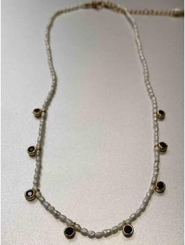 Collier Acier - Rang petites perles naturelles avec pendantifs strass