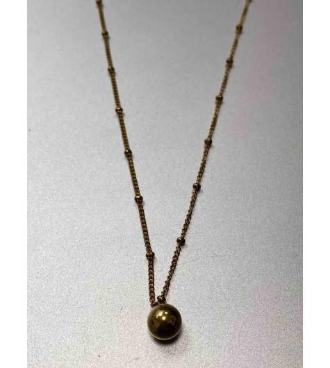 Collier Acier - Perle dorée sur chaine avec pastilles incrustées
