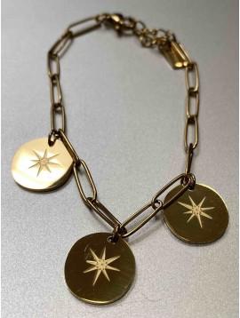 Bracelet Acier - Pastilles rondes centre soleil sur chaine forçat