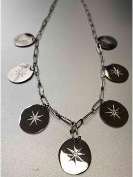 Collier Acier - Pastilles rondes centre soleil sur chaine forçat