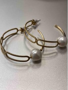 BO Créoles - Anneaux effet émail et grosse perle
