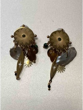 BO Percées - Grosses pastilles soleil avec pendantifs nacre et perles