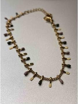 Bracelet Acier - Gouttes multicolores sur chaine fine
