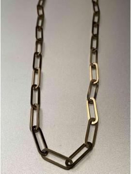 Collier Acier - Court chaine en maille forçat plate