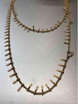 Collier Acier - Long avec gouttes martelées sur chaine