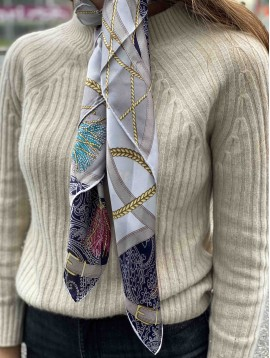 Silk square scarf - Saddlery pattern set on pasley background.