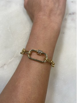 Bracelet Acier - Pendantif maillon strass sur maille forçat fine